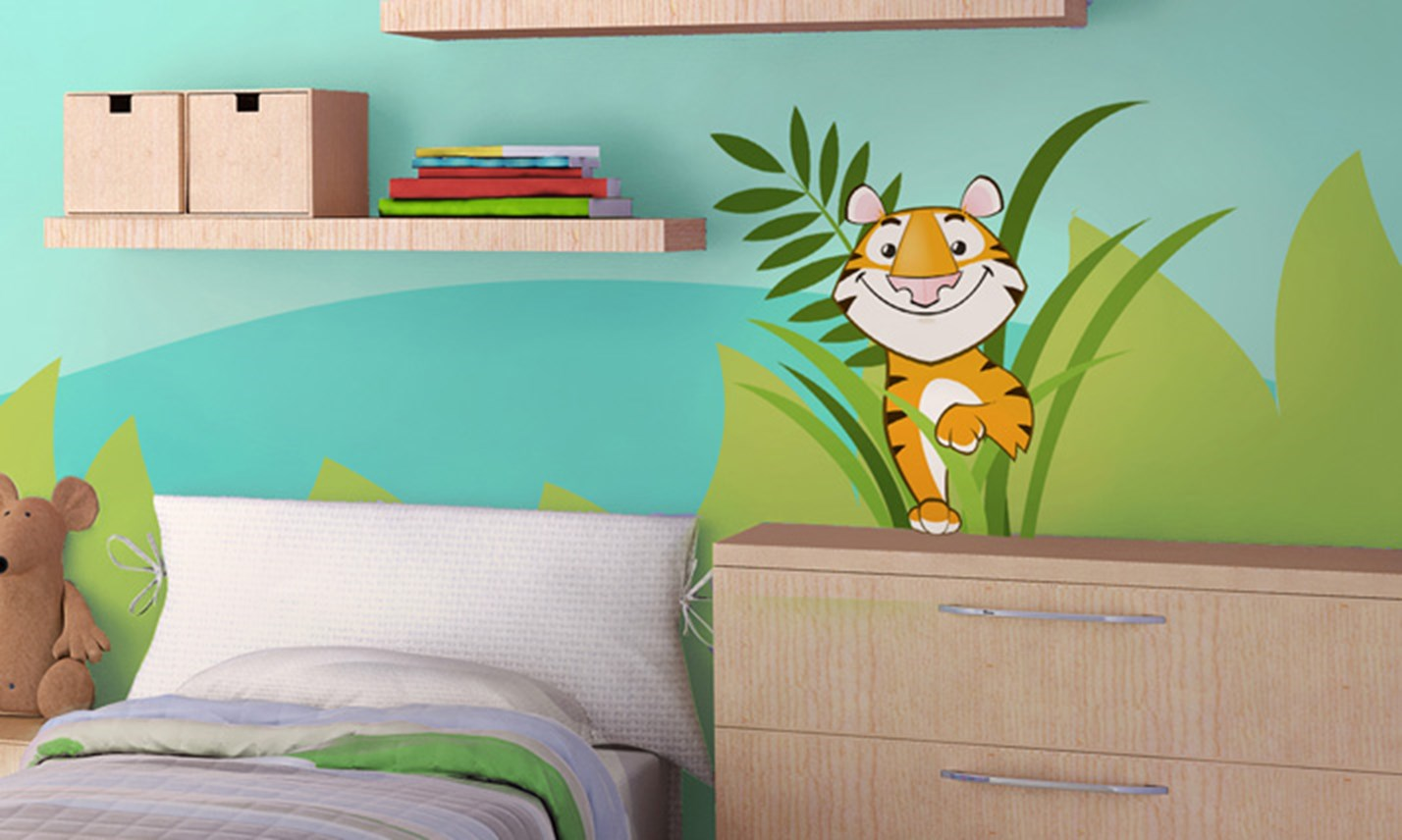 Stickers murali bambini cameretta nella giungla leostickers - Adesivi per cameretta bambini ...